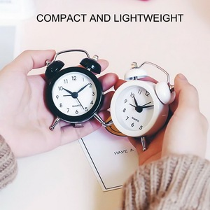 50mm Mini Alarm Clock High Quality Bell Alarm Clock for Travel Vintage Analog Small Desk Clock with Bell Camping Outdoor Tools
