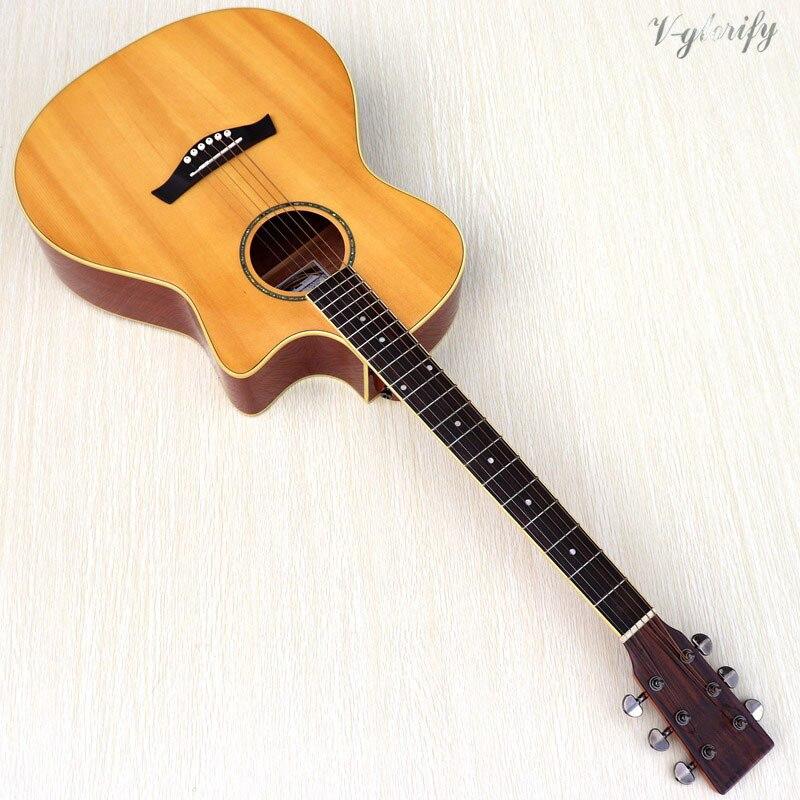 Guitare acoustique en bois massif épicéa 40 pouces cutway design folk gutiar 20 frettes haute brillance couleur naturelle guitare acoustique