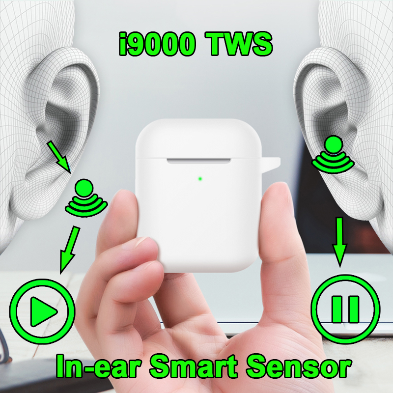 I9000 TWS Aire 2 Pop-up 1:1 Replica Earbuds Bluetooth 5.0 Wireless Earphones Smart In-Ear Sensor I9000tws PK I1000 I500 I800 TWS