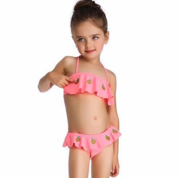 TaoBo wiek 2-8 stroje kąpielowe dla dzieci letnie stroje kąpielowe dla dziewczynek typ podziału spódnica Bikini różowe słodkie stroje kąpielowe dla dzieci i dziecięce zestawy Bikini tanie i dobre opinie LEOSOXS Pasuje prawda na wymiar weź swój normalny rozmiar Dziewczyny Polieterosulfonowa Stałe 130g