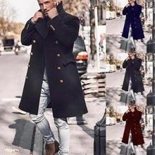 Men's Woolen Coat 2020 Autumn New Long Sleeve Men's Woolen Coats Large Size Winter Slim Long Trench Fashion Wild Men's Jacket