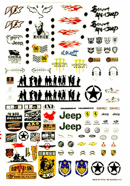 42*30cm RC auto shell body sticker Simulatie sticker gepersonaliseerde decoratieve stickers voor 1/10 1/8 RC Buggy Monster drift Crawler