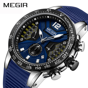 MEGIR Brand New Fashion High Quality Men Sports Waterproof Quartz Watch Chronograph Military Rubber Strap Student Wristwatches