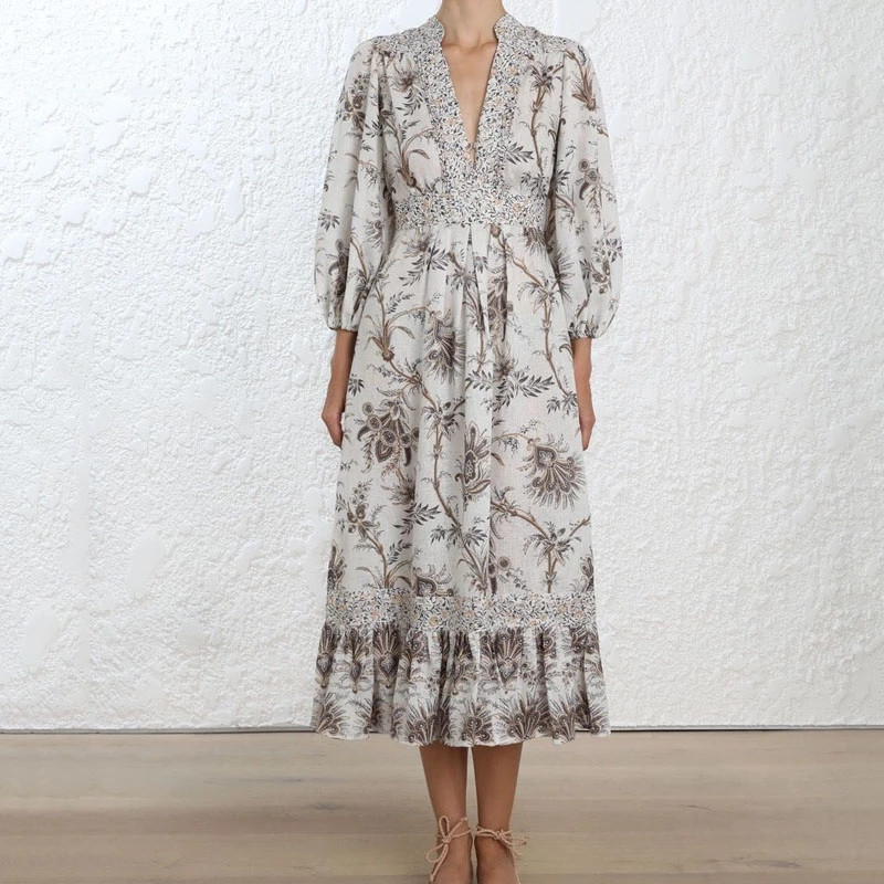 Runway Designer Women's Beach Dress 2019 Autumn Floral Printed Latern Sleeve Ruffles Pleated Long Dress Women Holiday Dress image