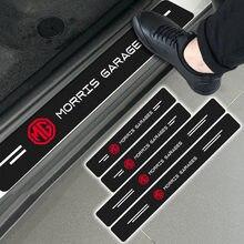 4 pçs carro de fibra carbono adesivo protetor do peitoril da porta auto adesivos para morris garagens mg logotipo tf mg3 mg5 mg6 mg7 mg3sw mg996r mg995