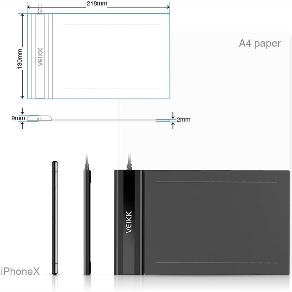 Drawing Tablet VEIKK S640 Graphic Drawing Tablet Ultra-Thin 6x4 Inch Pen Tablet with 8192 Levels Battery-Free Passive Pen