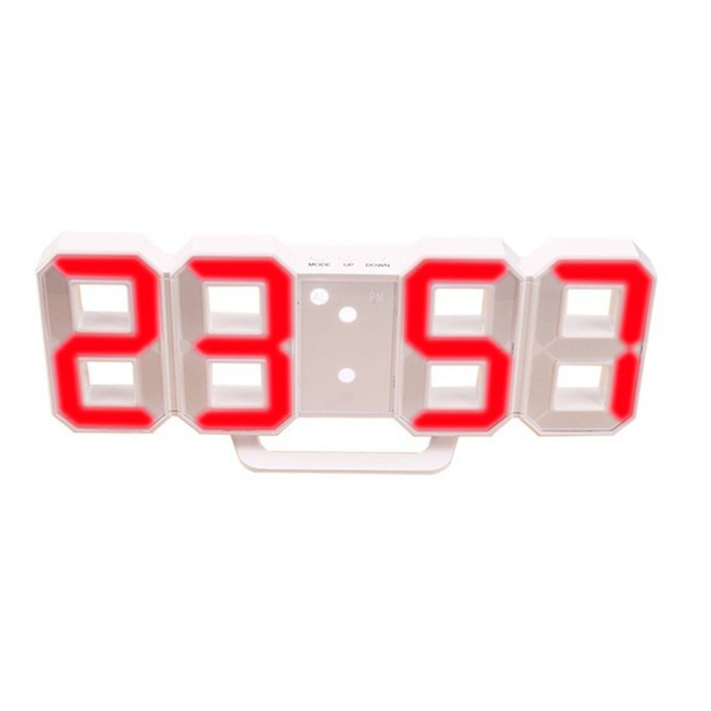 Office Creative 3D Alarm Clock Multifunctional LED Digital Wall Clock Sound Control Stereo Alarm Clock image