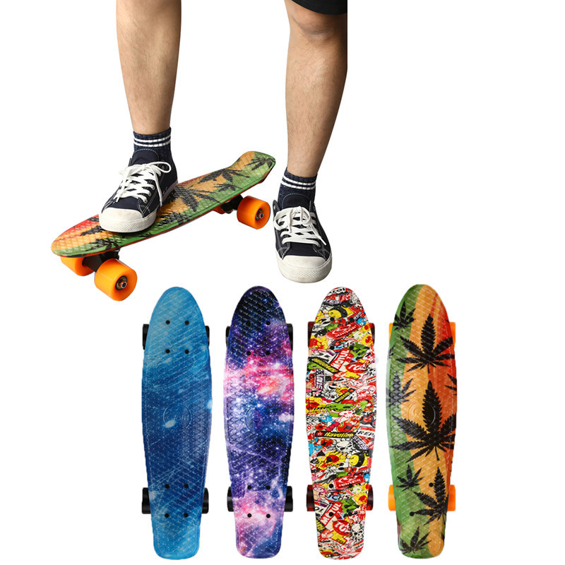 "22"" Skate Board Mini Cruiser Skateboard Plastic Starry Sky Galaxy Printed Longboard Retro Banana Fishboard Street Outdoor Sport"