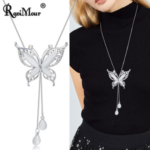 RAVIMOUR Choker Necklace for Women Opal Stone Big Butterfly Collier Femme Fashion Jewelry Korean Long Chain Kolye Gift for Girl(China)