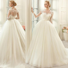Boho งานแต่งงานชุดยาวแขนลูกไม้ Appliques กับเข็มขัดชุดเจ้าสาว Robe Mariage กลับปุ่ม VINTAGE Tulle Gowns แต่งงาน