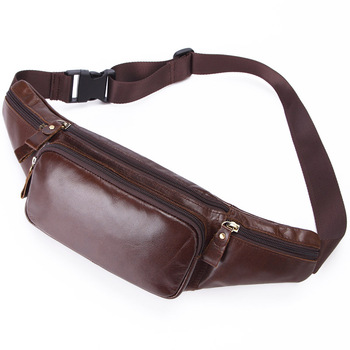 New men's trend leather multi-function sports pockets Korean version of outdoor leisure running mountaineering bags