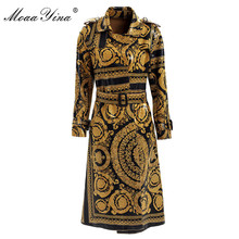 MoaaYina Fashion Windbreaker Overcoat Autumn winter Women Long sleeve Vintage Print Lace-Up Keep warm
