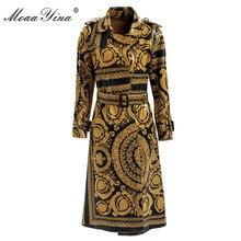 MoaaYina Moda Rüzgarlık Palto Sonbahar kış Kadınlar Uzun kollu Vintage Baskı Dantel up sıcak Tutmak Palto