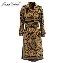 MoaaYina Mode Windjacke Mantel Herbst winter Frauen langarm Vintage Print Spitze Up warm Halten Mantel