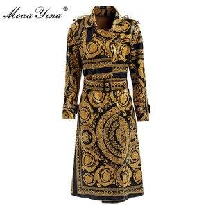 Image 1 - MoaaYina Mode Windjacke Mantel Herbst winter Frauen langarm Vintage Print Spitze Up warm Halten Mantel