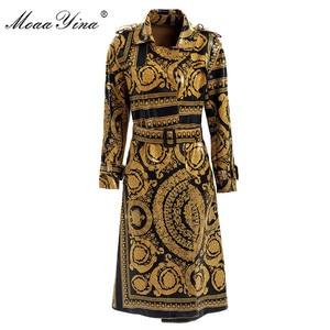 Image 1 - MoaaYina แฟชั่น Windbreaker เสื้อกันหนาวฤดูใบไม้ร่วงฤดูหนาวผู้หญิงแขนยาว Vintage พิมพ์ Lace Up Keep warm Overcoat