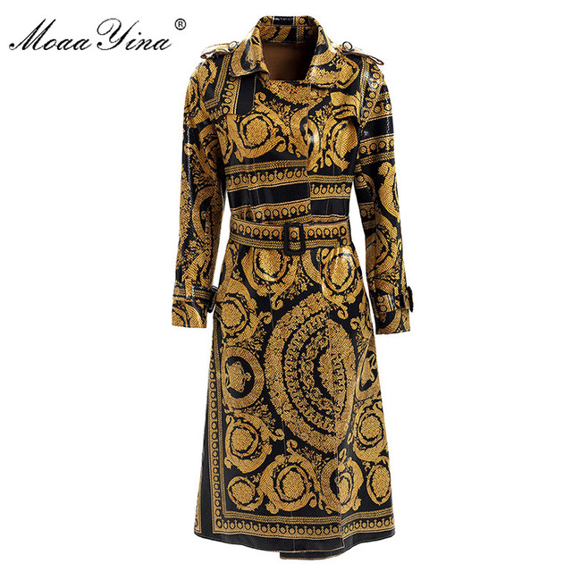 MoaaYina แฟชั่น Windbreaker เสื้อกันหนาวฤดูใบไม้ร่วงฤดูหนาวผู้หญิงแขนยาว Vintage พิมพ์ Lace Up Keep warm Overcoat