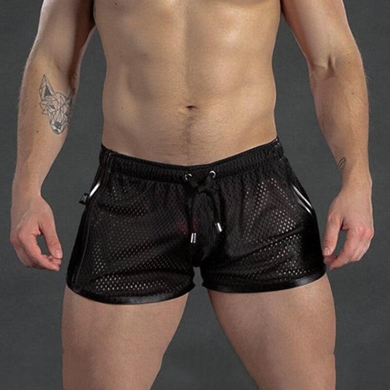 Summer Men Shorts Bodybuilding Short Pants Sexy Mesh Breathable Quick Dry Black Stripe Joggers Beach Broadshorts Homewear 2020