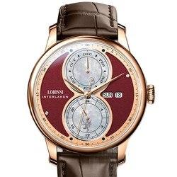 Szwajcaria luksusowa marka LOBINNI zegarki męskie szafirowy automatyczny zegarek mechaniczny ekran funkcyjny 50M wodoodporny L18015