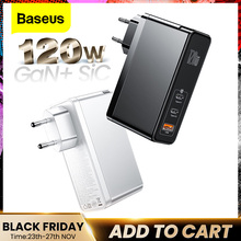 Baseus 120W GaN SiC Charger PD Type C Fast Charger Quick Charge 4.0 QC3.0 USB Charger Fast Charging For iPhone 12 Xiaomi Macbook