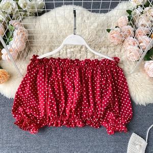 RUGOD сексуальный топ с открытыми плечами, женская модная короткая рубашка в горошек, укороченный топ, повседневная женская шифоновая блузка, Разноцветные Летние топы