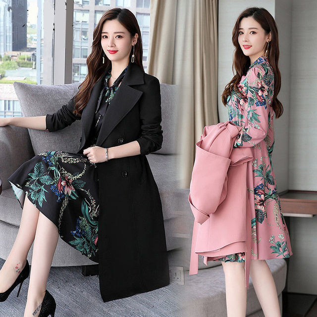 Spring Autumn Trench Coat Slim OL Ladies Trench Coat Women Dress Women Windbreakers Plus Size Two Pieces Women Sets Trench Coats 1