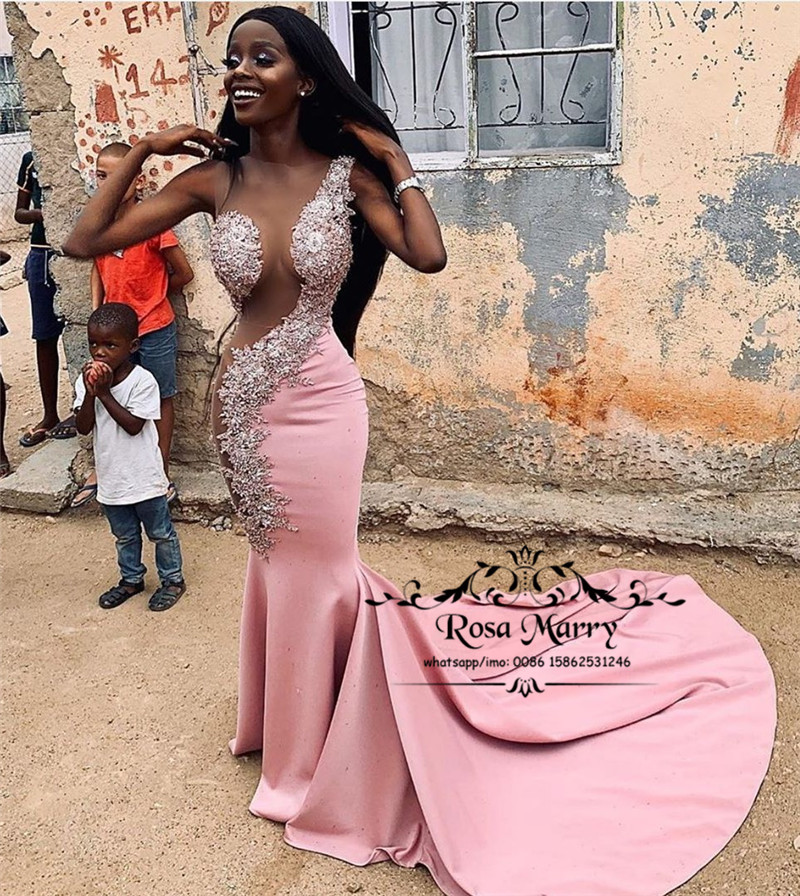 Sexy Plus Size Mermaid African 2K20 Prom Dresses 2020 Pink Illusion Vintage Lace Sequined Beaded Long Satin Formal Party Gowns