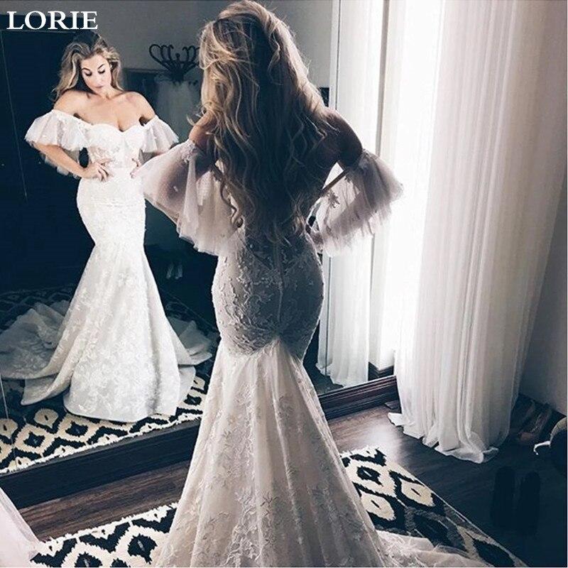 LORIE Lace Mermaid Wedding Dress Off The Shoulder Appliqued Bride Dress Wedding Gowns Sweetheart Vestidos De Novia