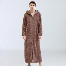 Длинный мужской Халат с капюшоном, фланелевый теплый халат на молнии, роскошная однотонная одежда в полоску, свободная ночная рубашка, банный халат, Badjas DS50980