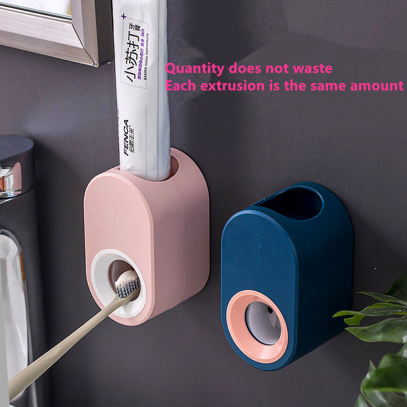 BAISPO Wall Mounted Automatic Toothpaste Squeezer Dispenser Plastic Dust-proof Toothbrush Holder For Toilet Bathroom Accessories