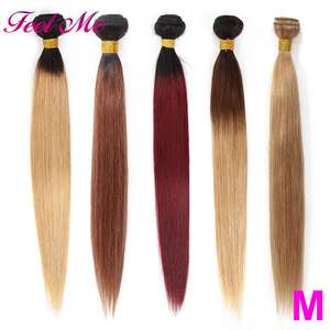 Hair-Weave-Bundles Honey Blonde Ombre Brazilian Straight Pre-Colored Non-Remy -27 Middle-Ratio