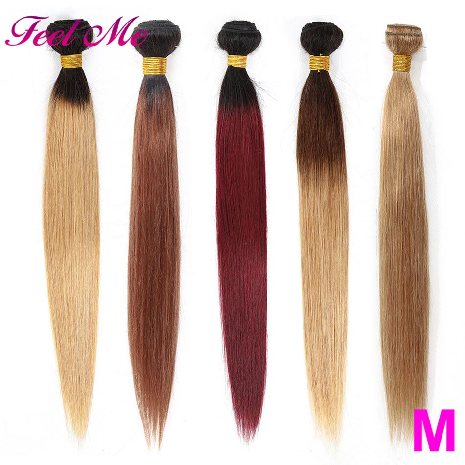 FEEL ME Brazilian Straight Hair Bundles Ombre Human Hair Bundles Pre-colored Straight Bundles 1/3/4pcs Non-remy Hair Extensions