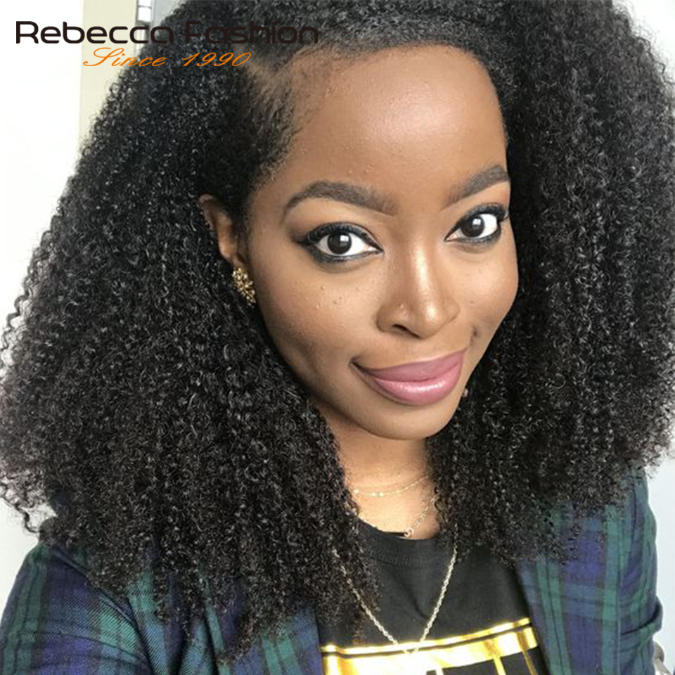 Rebecca Right Part Lace Front Short Bob Wigs Afro Kinky Curly & Jerry Curly Human Hair Wigs For Women Pre Plucked Human Lace Wig