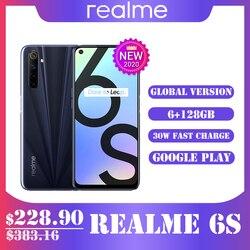 Realme 6s смартфон 6/ 128 ГБ 90 Гц 6,5 дюймов FHD + дисплей телефон 48MP Qual камеры Android 4300mAh 30W сменный мобильный телефон