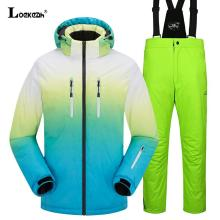 Thick Warm Ski Suit Unisex Waterproof Windproof Skiing Snowboarding Jacket Pants Set Man Women Female Snow Outdoor