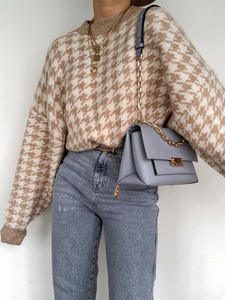 Pullover Sweater Retro Jumper Geometric Simplee Houndstooth Khaki Female Autumn Winter