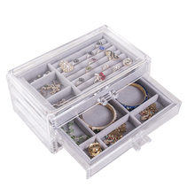 New Ladies Jewelry Storage Case 3 Drawers Transparent Organizer Earring Rings Necklaces Bracelets Display Case 2019(China)