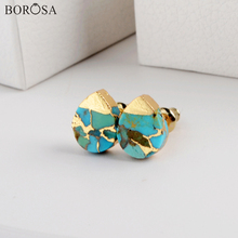 BOROSA New Boho Blue Veins Turquoises Stud Earrings Teardrop Natural Stone for Women Party Wedding Jewelry Gifts G1984
