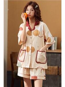 Image 4 - Bzel Thời Trang Nữ Bộ Đồ Ngủ Mặc Quần Lót 100% Cotton Dễ Thương Nữ Bộ Đồ Ngủ Ngắn Tay Quần Short Váy Ngủ Nhà Vải Dành Cho Nữ