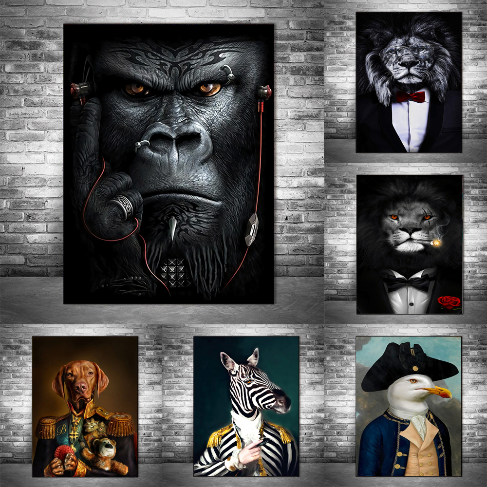 Animals in a Suit Modern Art Canvas Posters and Prints Count Goat Classical Paintings on the Wall Art Pictures Home Wall Decor