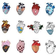 Humanos esmalte de corazón Pin onda noche estrellada de la línea rosa venda los ojos Corazón del planeta broches colección Pin para solapa con insignia médica joyería