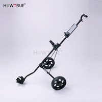 Iron Aluminum Golf Pull Cart,Adjustable Golf Trolley Cart Foldable Trolley with Brake(China)