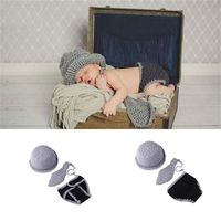 KLV Newborn Photography Props Costume Infant Baby Girls Boys Little Gentleman Outfit Baby Hat