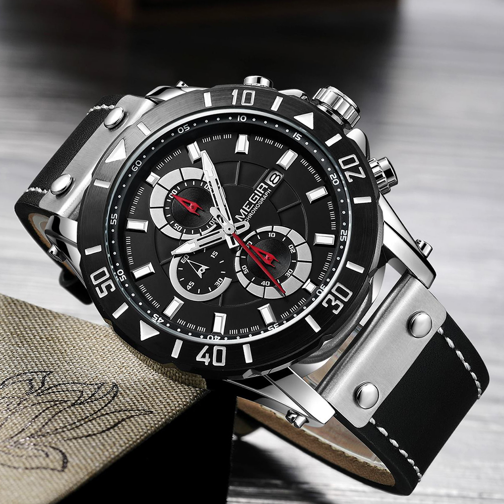 2020 MEGIR Watch Men Fashion Quartz Watches Leather Band Sport Quartz Wristwatch Chronograph Clock Male Creative Design Big Dial