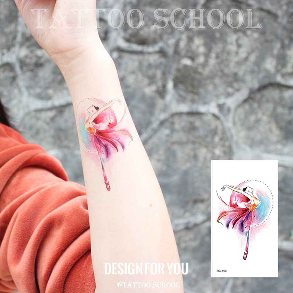 防水一時的な水彩タトゥーステッカー手描きのアートバレエダンサーボディ偽タトゥーフラッシュ女性の手のバック