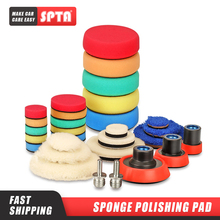 SPTA 29Pcs Imported Polishing Pad Kit with M14 Thread Back Plate&Adapter Fine Wool Pad Waxing Sponge Car Polish Buffing Pad Kit
