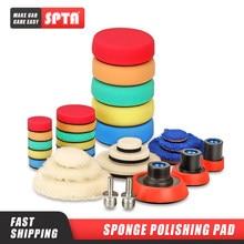 Spta 29 pçs importado kit almofada de polimento com rosca m14 placa traseira & adaptador lã fina almofada enceramento esponja polonês do carro kit almofada de polimento