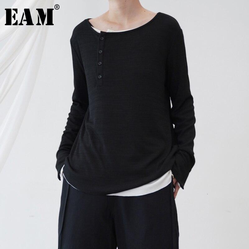 [EAM] Black White Split Joint Knitting Sweater Loose Fit Round Neck Long Sleeve Women New Fashion Tide Autumn Winter 2019 1B655