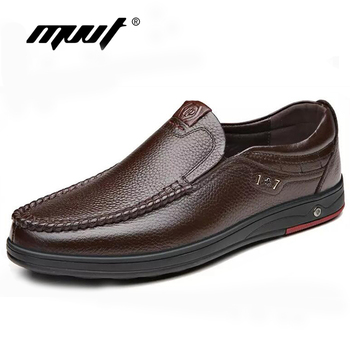 Genuine Leather shoes Men Loafers Slip On Business Casual Leather Shoes Classic Soft Moccasins Hombre Breathable Men Shoes Flats mycolen camouflage genuine leather men shoes luxury brand loafers italian mens shoes men casual black slip on moccasins flats