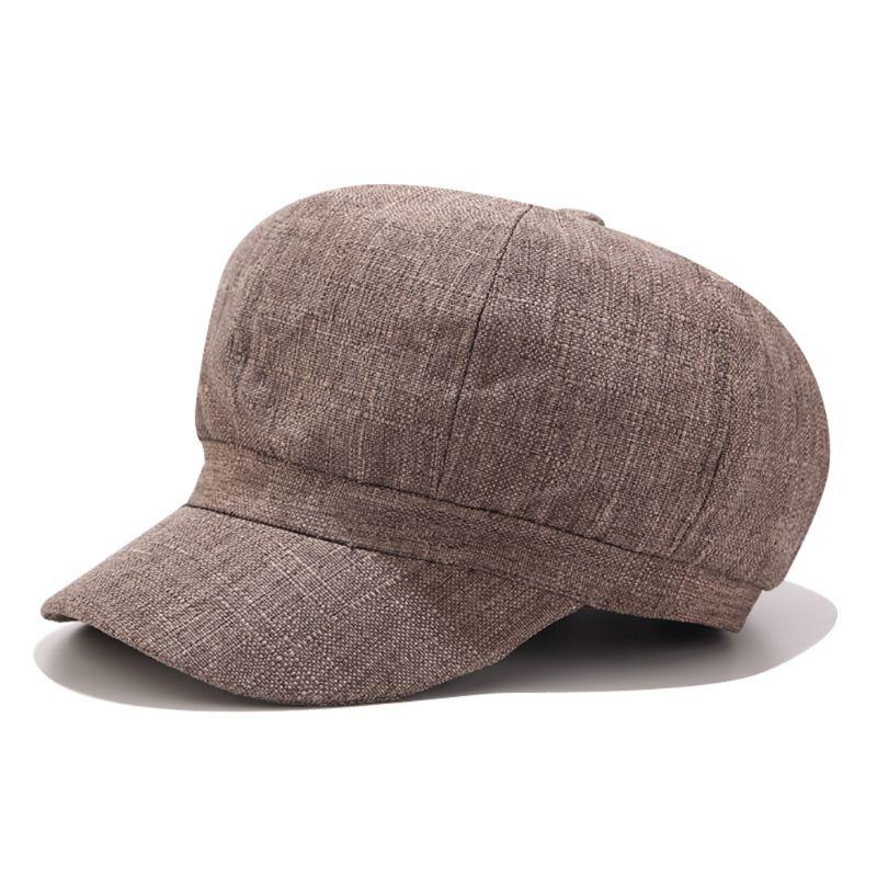 British Style Women Girls Sun Visor Newsboy Cap Retro Cotton Linen Solid Color Classic Octagonal Flat Cabbie Painter Beret Hat